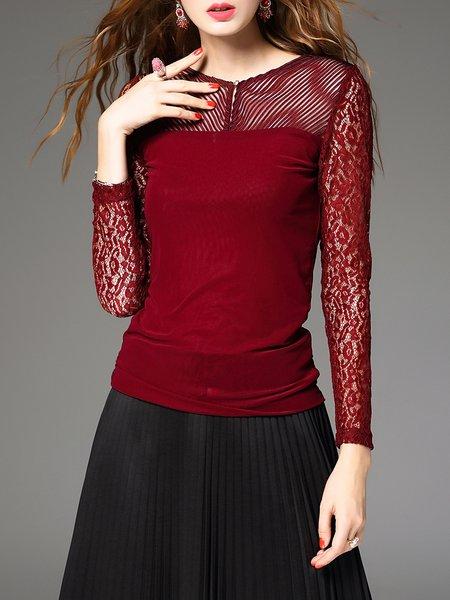 Burgundy Long Sleeve Blouse 57