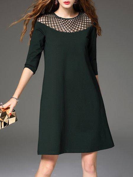 Green Simple Crew Neck Mini Dress