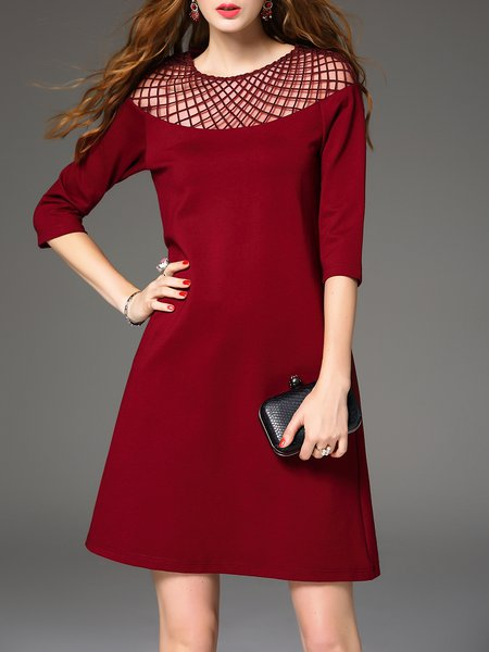 Burgundy 3/4 Sleeve Mesh Paneled Mini Dress