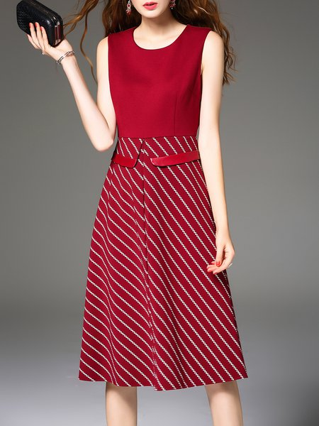 Red Sleeveless Printed A-line Stripes Midi Dress