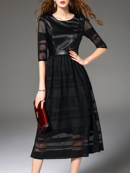 Simple Crew Neck Half Sleeve Midi Dress