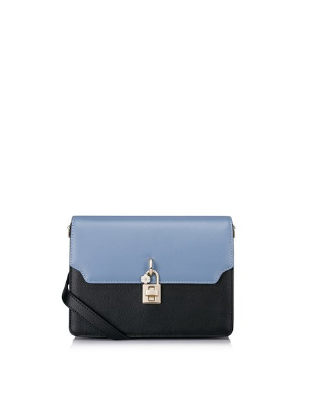 Blue-black Twist Lock Sweet Padlock Cowhide Leather Crossbody Bag
