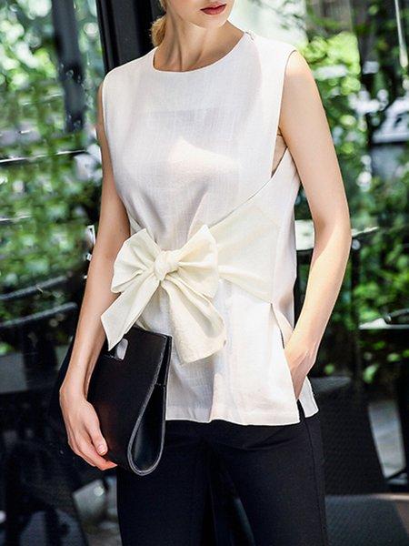 Beige Sleeveless Linen Blouse