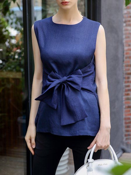 Linen H-line Sleeveless Casual Plain Blouse
