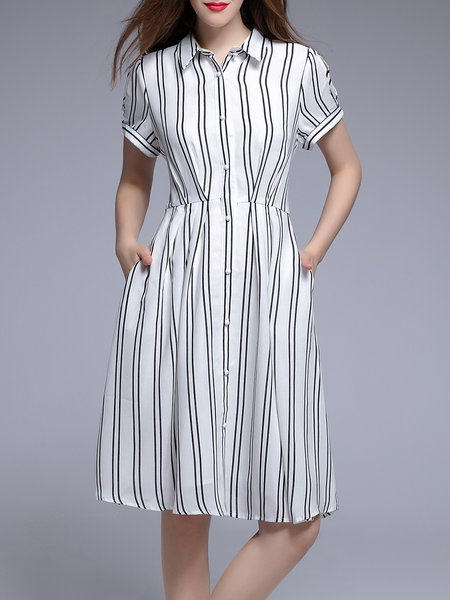 White Casual Shirt Collar Cotton-blend Stripes Midi Dress