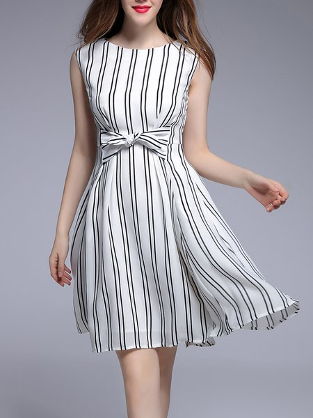 Printed Casual Sleeveless Midi Dress