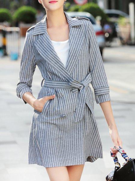 Gray 3/4 Sleeve Lapel Pockets Stripes Coat