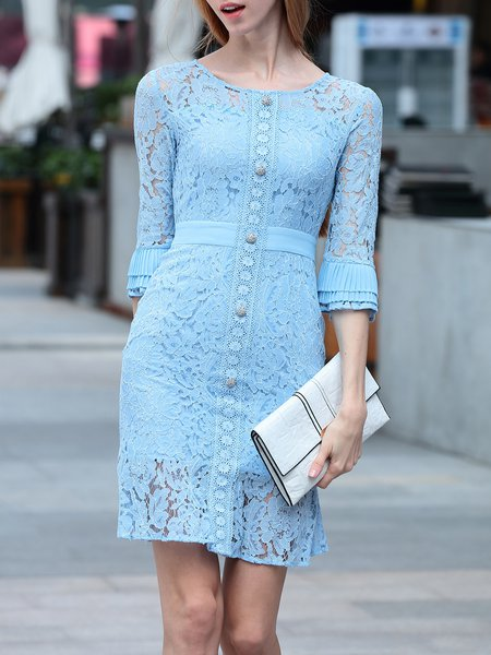Frill Sleeve Casual Guipure Lace Mini Dress