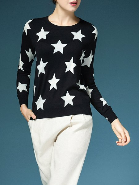 Black Star Printed Casual Modal Crew Neck Long Sleeved Top
