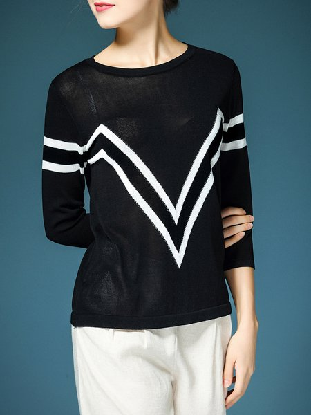 Black Viscose Simple Long Sleeved Top