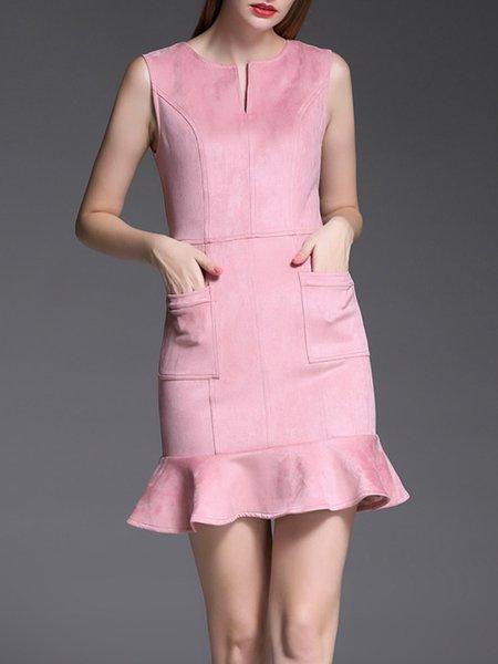 Pink Sleeveless V Neck Ruffled Mini Dress