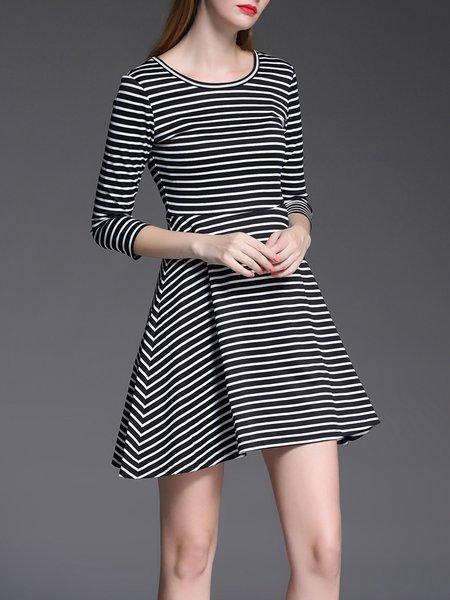 Crew Neck Casual Stripes 3/4 Sleeve A-line Mini Dress