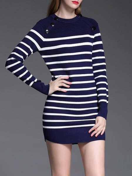 Long Sleeve Casual Shift Wool Mini Dress