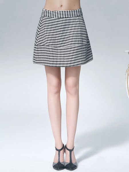 Black A-line Polyester Simple Mini Skirt