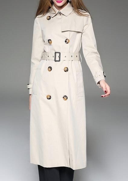 Beige Shirt Collar A-line Plain Long Sleeve Trench Coat
