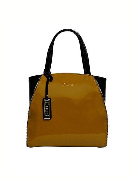 Yellow Zipper Cowhide Leather Top Handle
