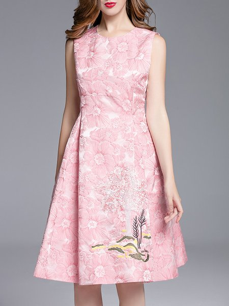 Pink Cocktail Embroidered Floral A-line Midi Dress