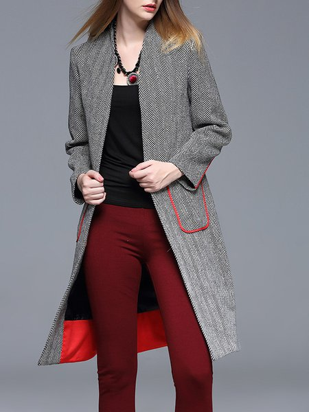 Simple Geometric Long Sleeve Pockets Coat