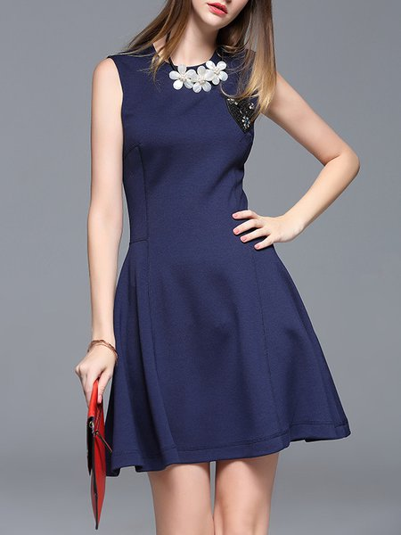 Appliqued A-line Casual Sleeveless Mini Dress
