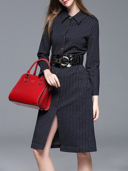 Simple Checkered/Plaid Long Sleeve Slit Shirt Collar Midi Dress