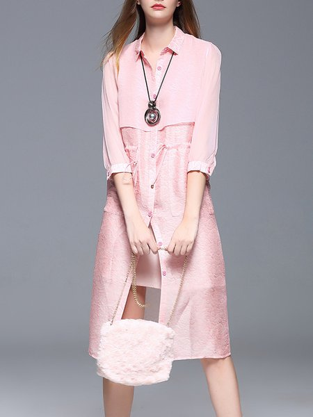 Pink A-line 3/4 Sleeve Plain Mesh Paneled Shirt Dress
