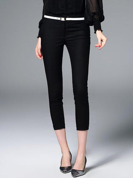 Black Pockets Simple Plain Skinny Leg Pants
