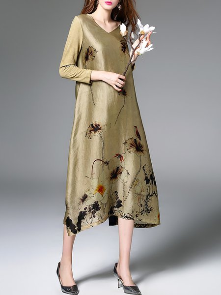 V Neck Floral Print Long Sleeve Vintage A-line Midi Dress