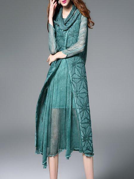 Crew Neck Long Sleeve Casual Paneled Midi Dress