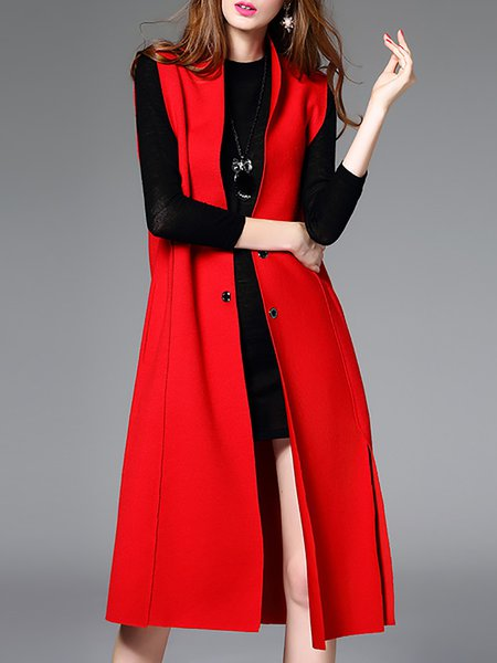 Red Slit Sleeveless Vests And Gilet