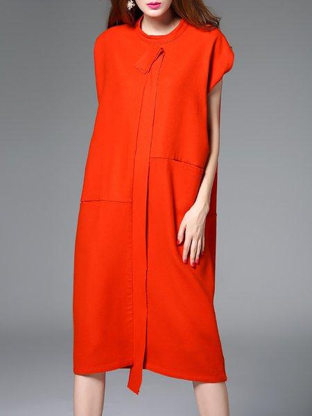 Simple H-line Short Sleeve Wool Midi Dress