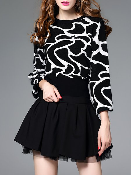 Black Paneled Long Sleeve Crew Neck Wool Blouse