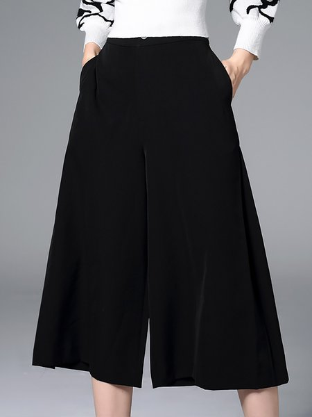 Black Simple Plain Pockets A-line Wide Leg Pants