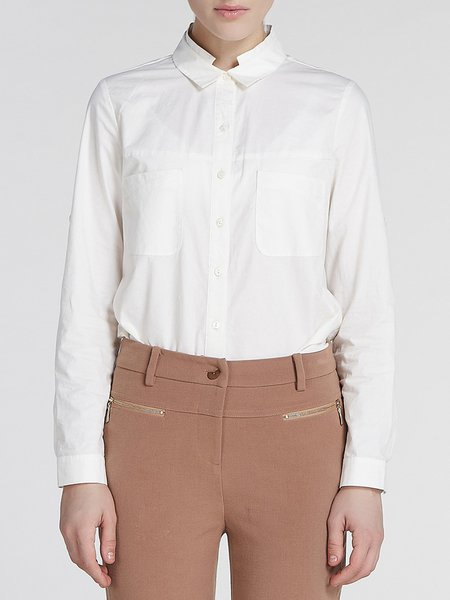 White Cotton Shirt Collar Work Pockets Blouse