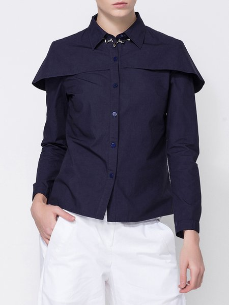 Statement Shirt Collar Plain Paneled Blouse
