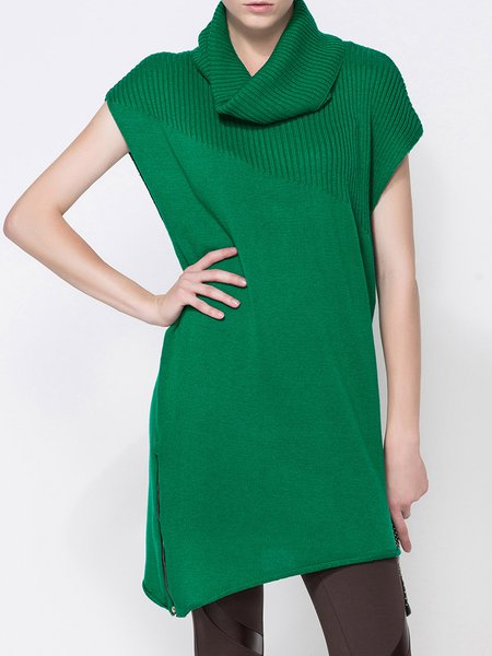 Green Polyester Statement Asymmetric Stand Collar Tunic