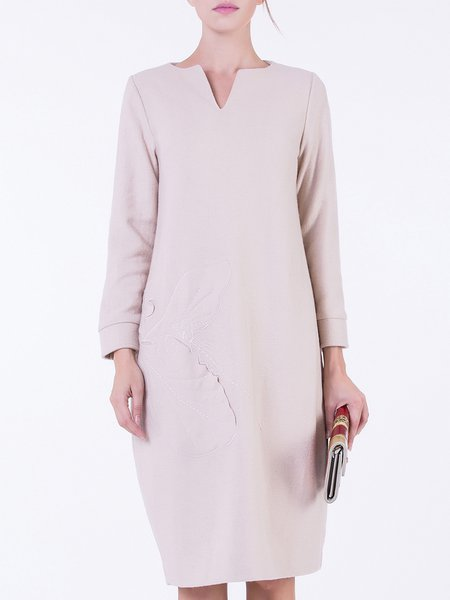 Beige Casual Wool Blend Embossed Midi Dress