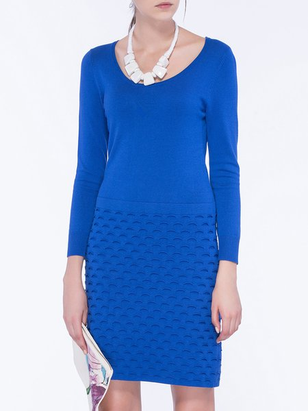 Royal Blue Plain Crew Neck Long Sleeve Mini Dress
