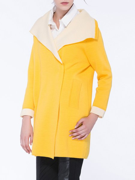 Yellow Lapel Plain Wool Blend Casual Coat