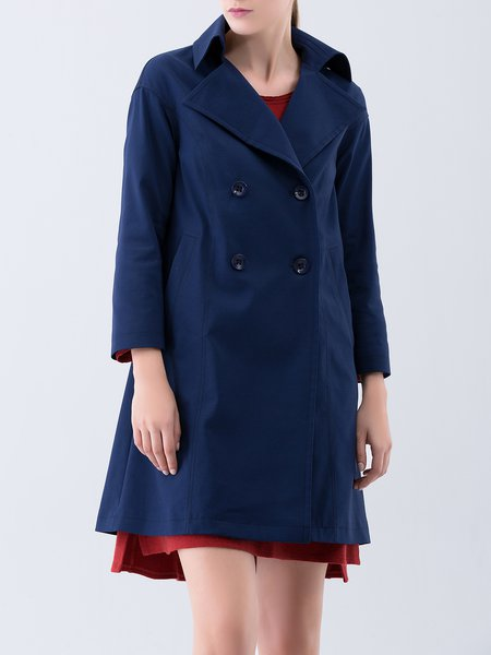 Dark Blue Plain Casual Buttoned Trench Coat