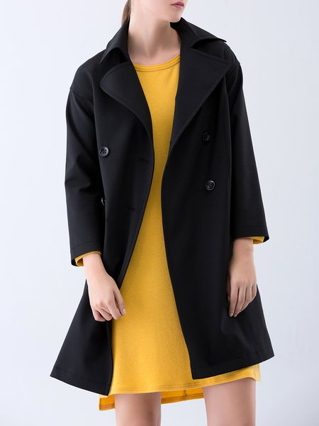 Black Plain Long Sleeve Buttoned Trench Coat