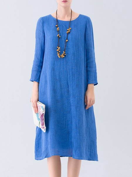 Purplish Blue Long Sleeve Slit Crew Neck Midi Dress
