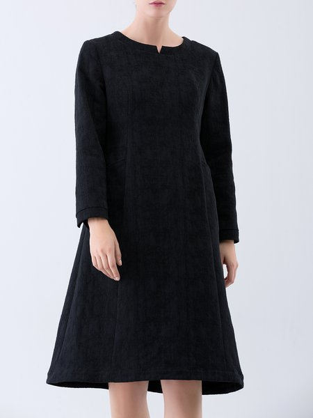 Black V Neck Pockets Casual Cotton Midi Dress