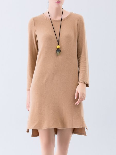 Long Sleeve Plain High Low Tiered Midi Dress