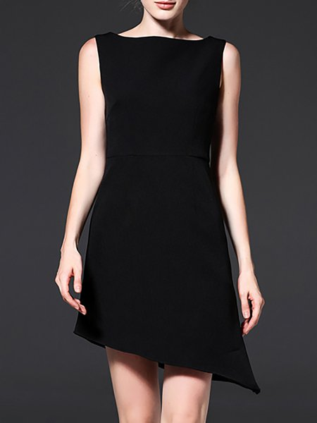 Black Sleeveless Asymmetric Neck Mini Dress