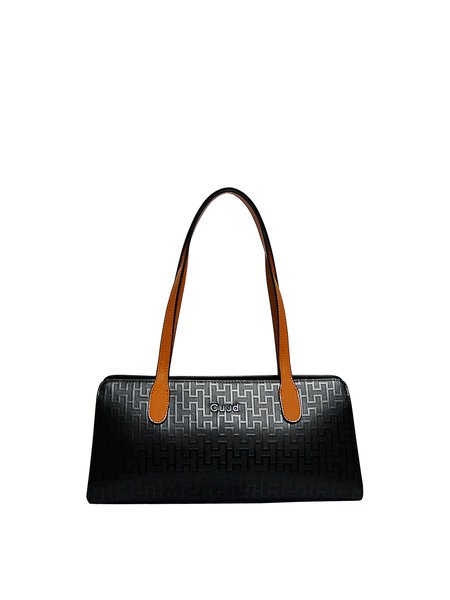 Black Cowhide Leather Large Work Shoulder Bag
