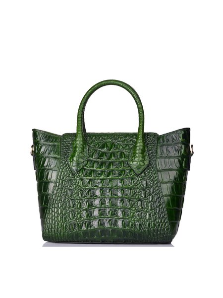 Dark Green Retro Large Embossed Cowhide Leather Tote