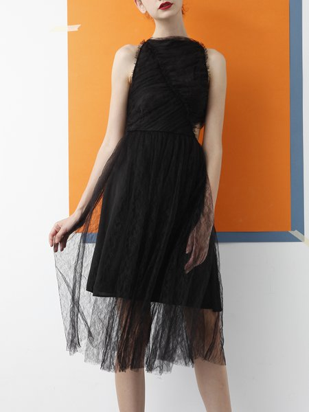 Black Plain Sleeveless Lace A-line Midi Dress