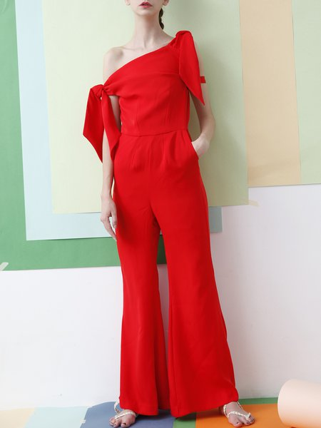 Casual Off Shoulder Sleeveless Pockets Jumpsuit