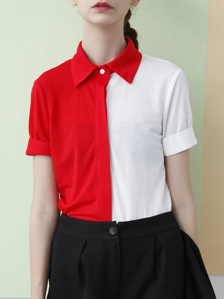 Red Cotton Shirt Collar Color-block Short Sleeve T-Shirt