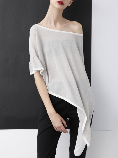 Light Gray See-through Look Frill Sleeve T-Shirt